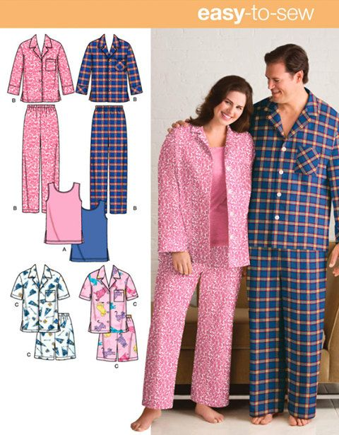 f87ee4e5ce1 PLUS SIZE Sleepwear Sewing Pattern - Unisex Pajamas Pants Shorts Tank Top   patterns4you