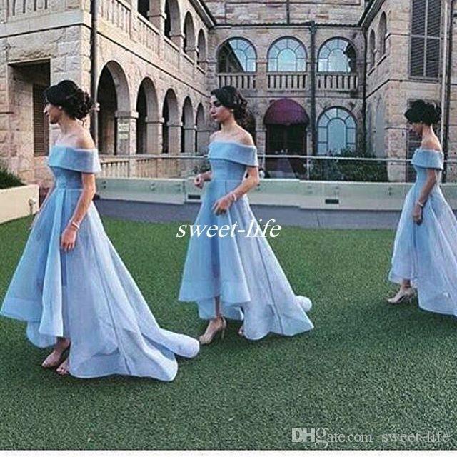 Off shoulder sky blue ball gown wedding guest party maid for Sky blue wedding guest dresses