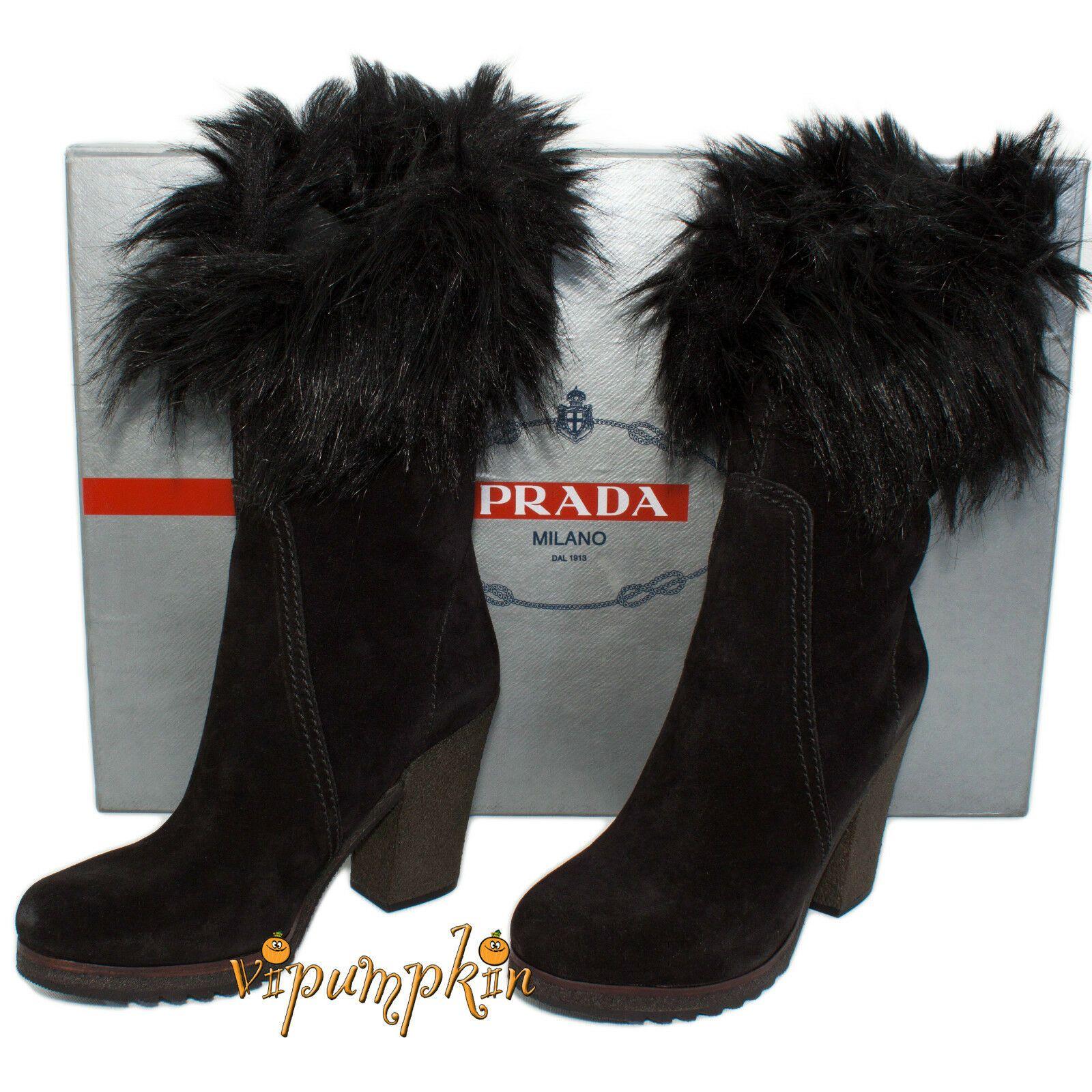 Prada Suede Fur Cuff Mid Calf Boot Deserto: PRADA BLACK NERO SUEDE MID CALF FAUX FUR CUFF BOOTS