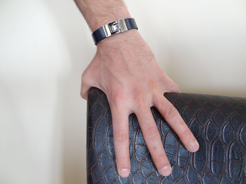 EXPRESS SHIPPING,Men\'s Deep Blue Leather Bracelet,Men\'s Jewelry ...