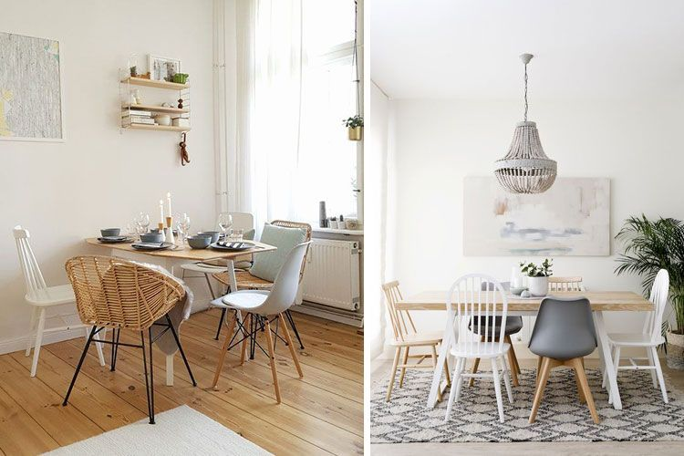 Mesa de comedor con sillas diferentes | Sillas, Mesas de