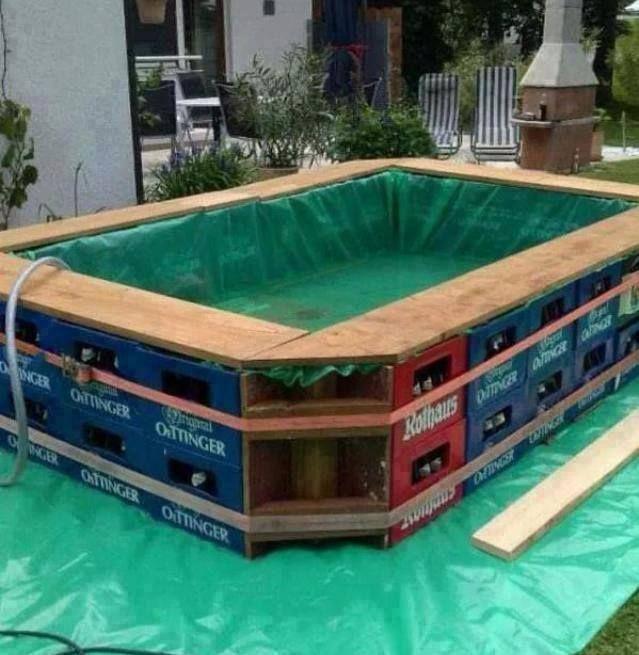 Pileta con cajones de cerveza creativo diy swimming pool diy pool y swimming pools for Tsurumi ryokuchi swimming pool