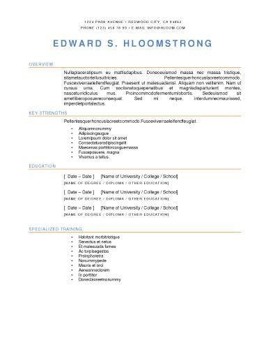 Bright Contrast Resume Template | Resume Templates and Samples ...