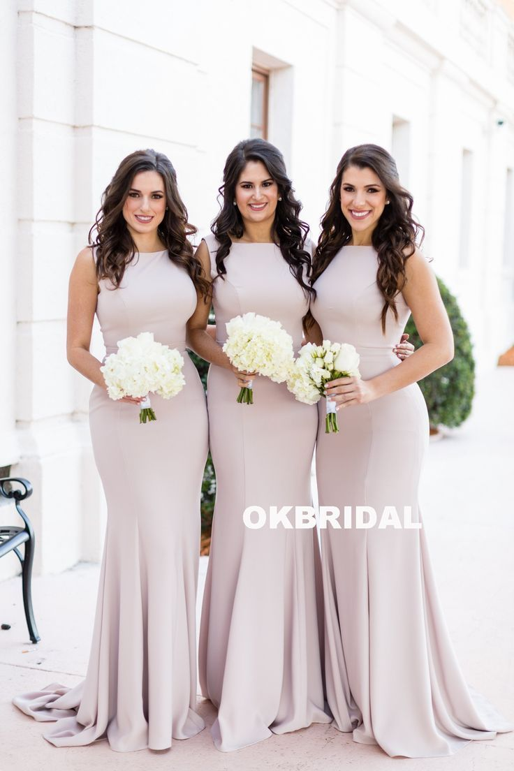 Pink Elegant Mermaid Sleeveless Bridesmaid Dress, Charming Floor-Length Bridesmaid Dress, KX782 – Dress