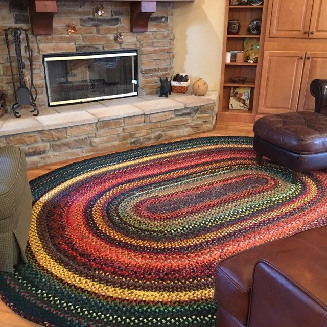 7 Foot X 12 Foot Oval Wool Braided Rug Deposit Only Etsy In 2020 Braided Wool Rug Braided Area Rugs Wool Rug