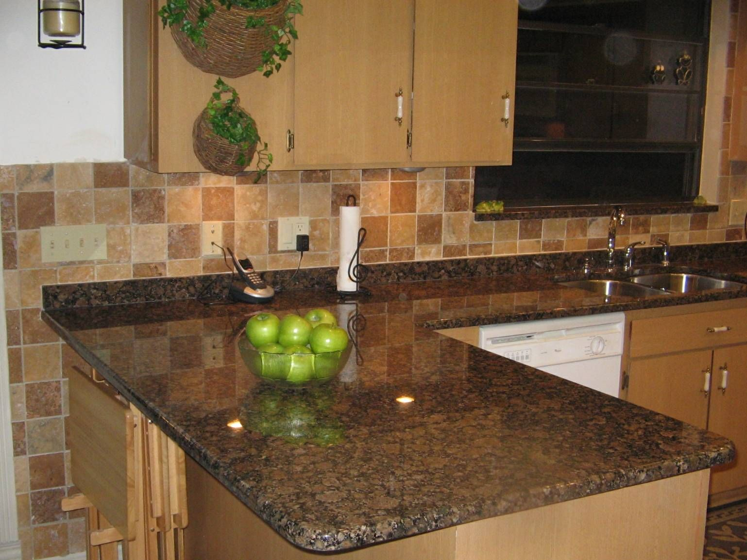 Kitchen Beautiful L Shape Kitchen Decoration Using Square Travertine Tile Kitchen Backsplash Including Black Granite Counter Tops And Light Oak Wood