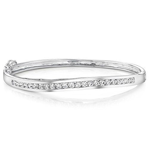 1//4 ct Crystal Hinged Heart Bangle Bracelet in Sterling Silver