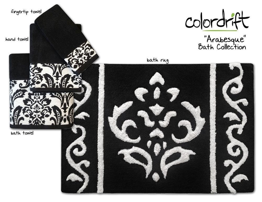 New Arabesque Bath Collection Assorted Towels Rugs Black - Black and white bath mat uk for bathroom decorating ideas