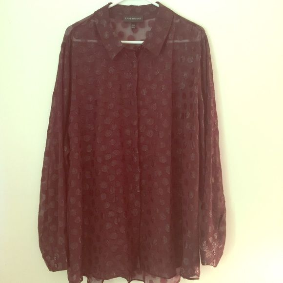 Purple polka dot sheet 26/28 This is new. I took the tags off and tried it on but never wore it. It's a shade of purple almost burgundy color, very sheer with polka dots. Lane Bryant Tops Blouses