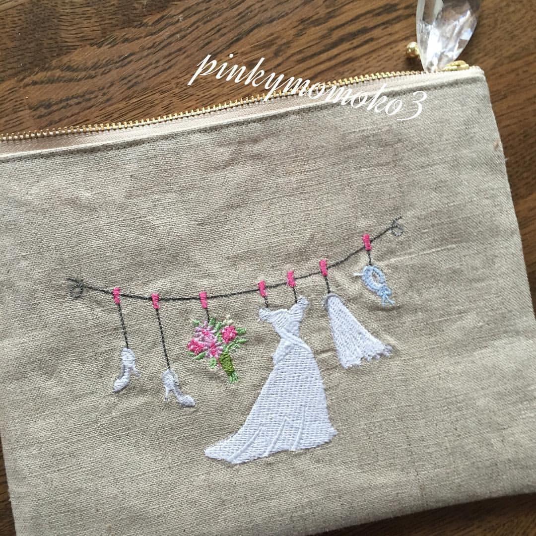 ミシン刺繍の ポーチ出来ました embroiderylibrary