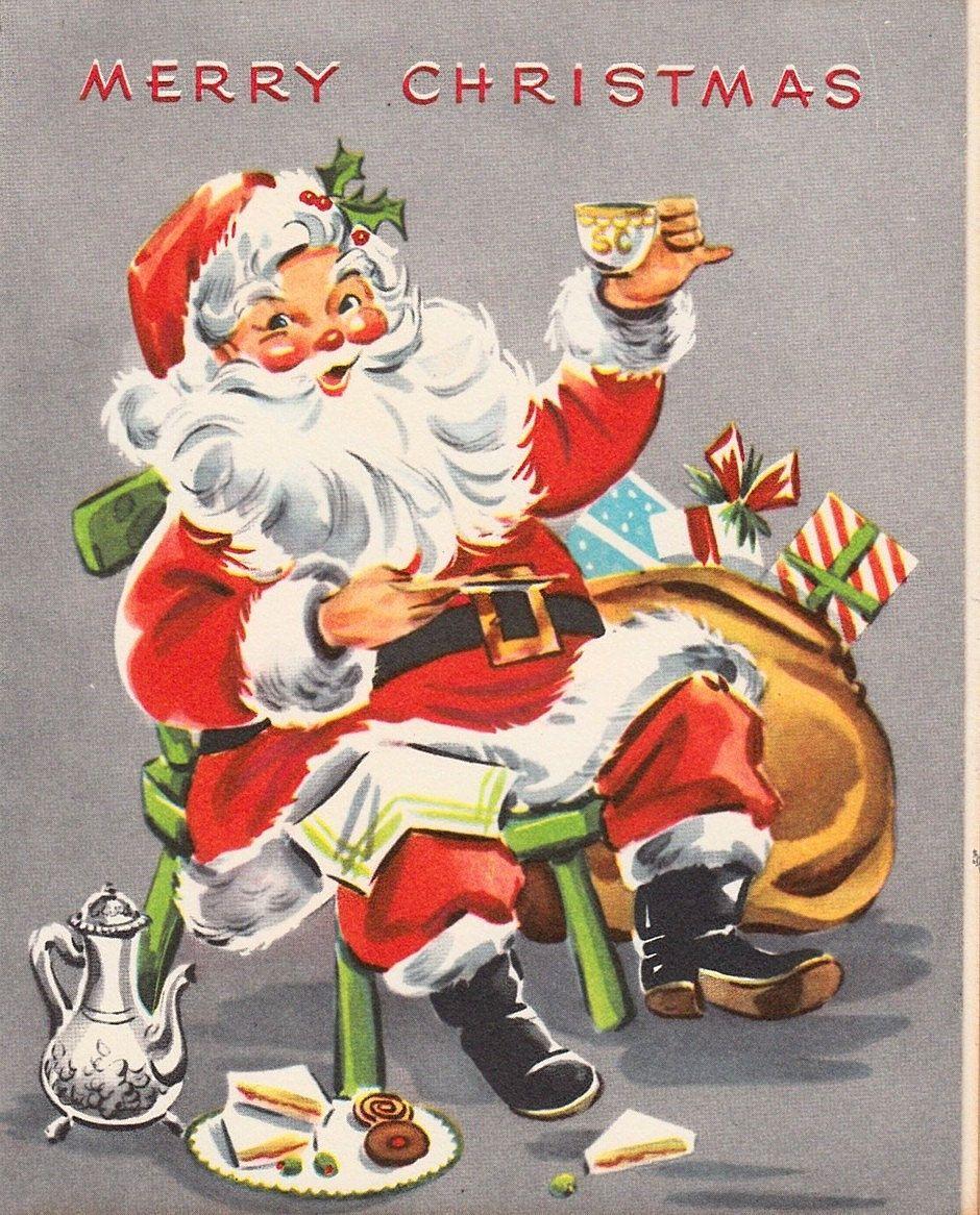 Vintage SANTA CHRISTMAS Card - Circa 1950's...   Christmassy ...