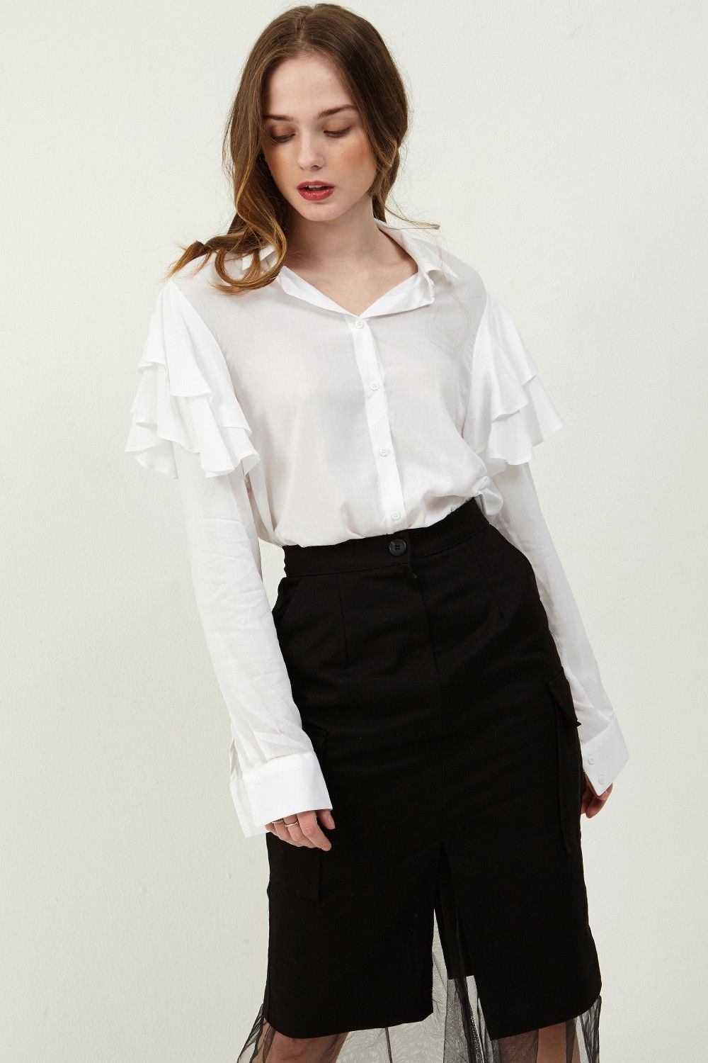 Janice Ruffle Shoulder Blouse >>Discover the latest fashion trends ...