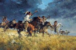 "C. Michael Dudash, Ride Like the Wind, oil, 34 x 52"""