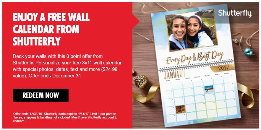 free shutterfly photo calendar through my coke rewards https