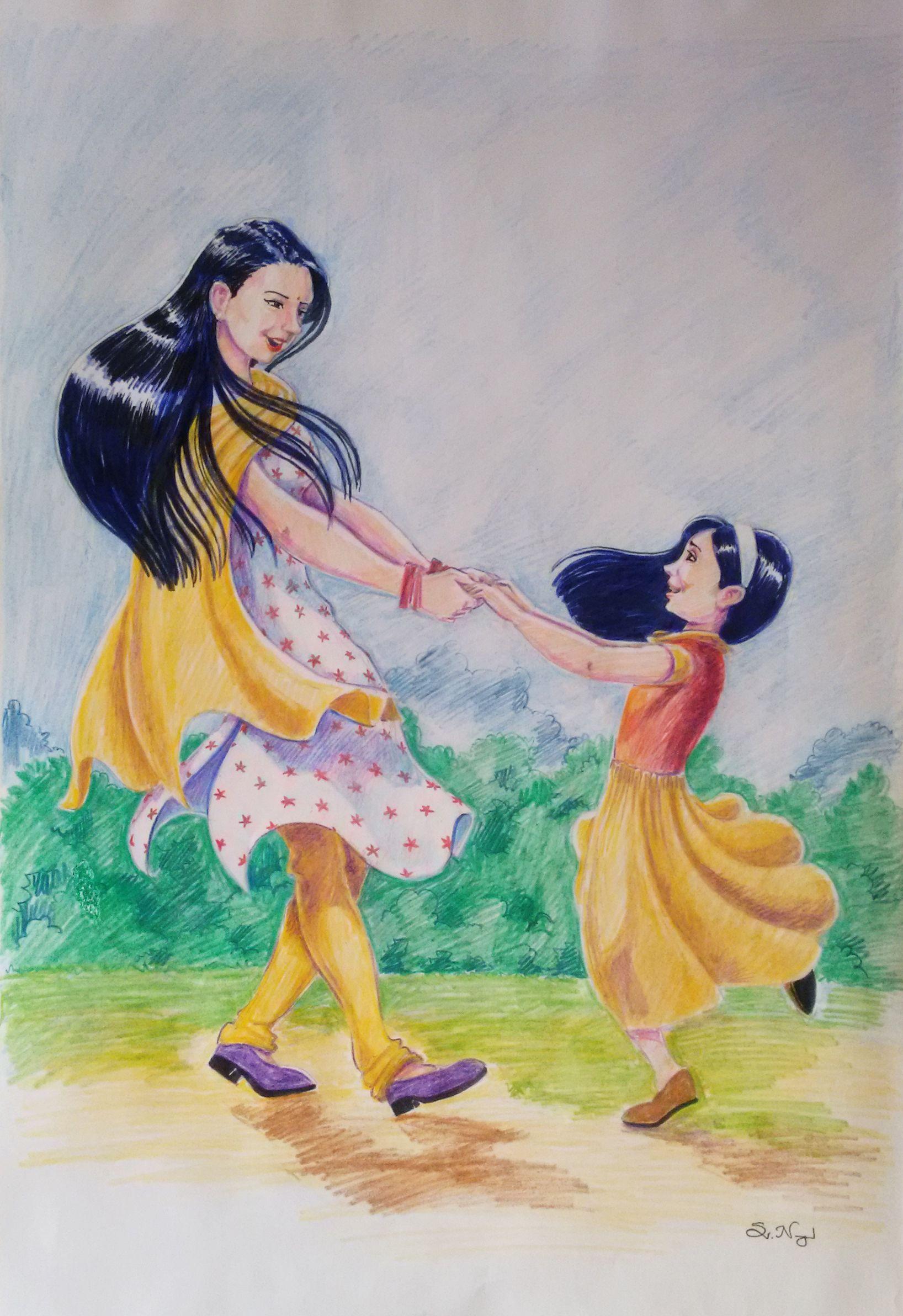 Mom & Daughter - Color pencil Artwork | Colored pencil ...