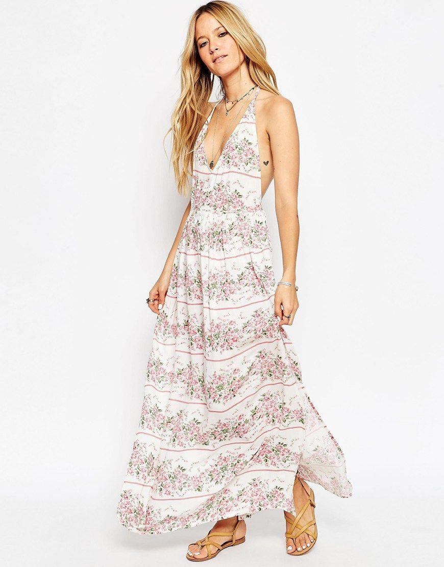 Image of asos stripe floral print split maxi beach dress