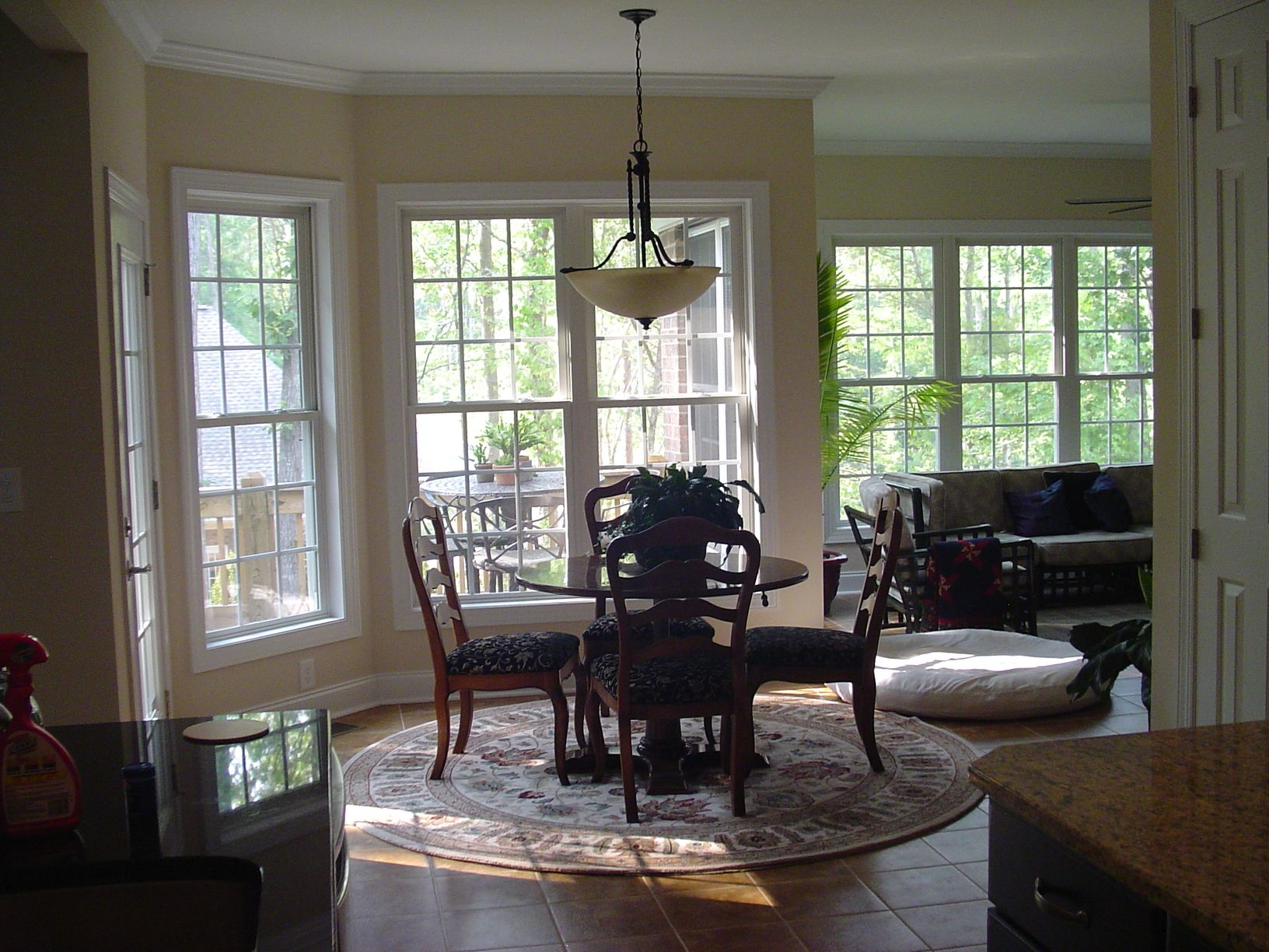 Frank betz ambrose view into breakfast nook and sunroom for Sunroom breakfast nook