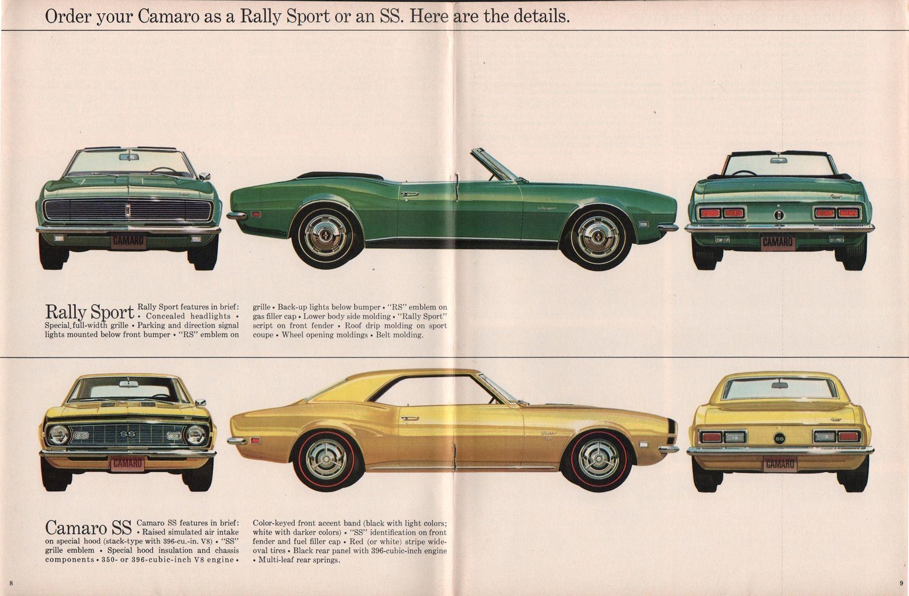 Gm 1968 Chevrolet Camaro Sales Brochure Chevrolet Camaro Camaro Chevrolet