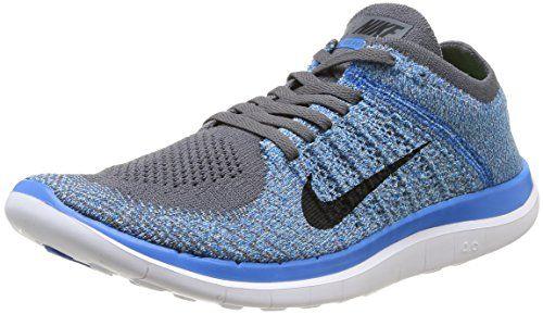 Nike Men's Free 4.0 Flyknit Dark Grey/Blk/Pht Bl/Plrzd Bl Running