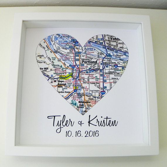 Wedding Gift Map Art Framed Print Personalized Wedding Gift Heart