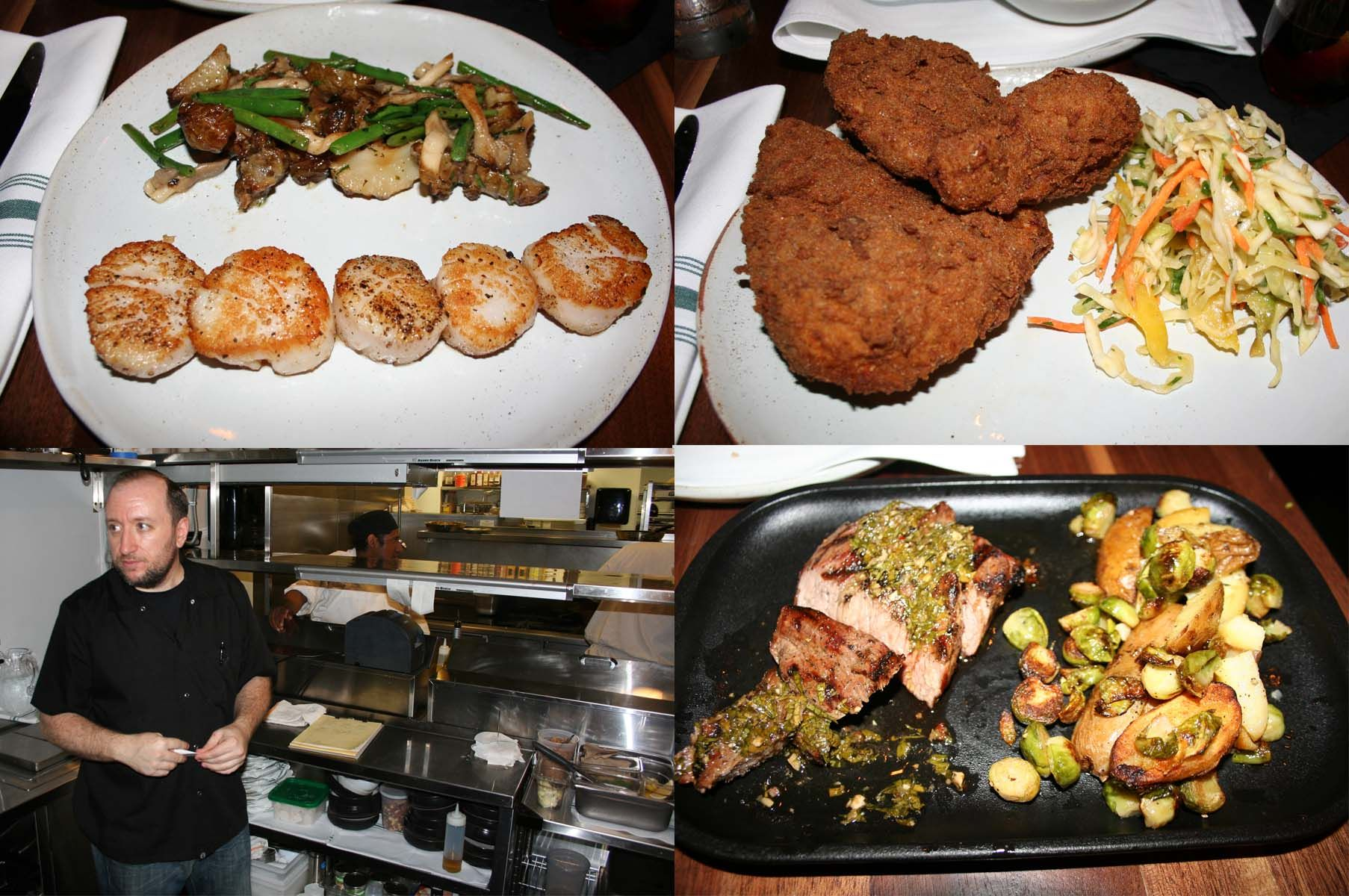 Entrees include pan-seared scallops (clockwise from top left), Old Bay fried chicken and grilled tri-tip steak with salsa verde. Bottom left, Chef Arthur Ringel in his second floor open kitchen. (Photos: Mark Heckathorn/DC on Heels)