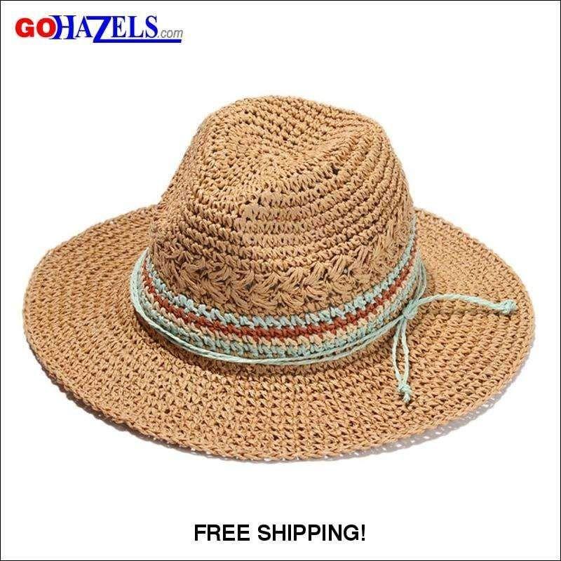 fb73c9f958e98 Women Wide Brim Straw Skimmer Roll up Beach Sun Hat