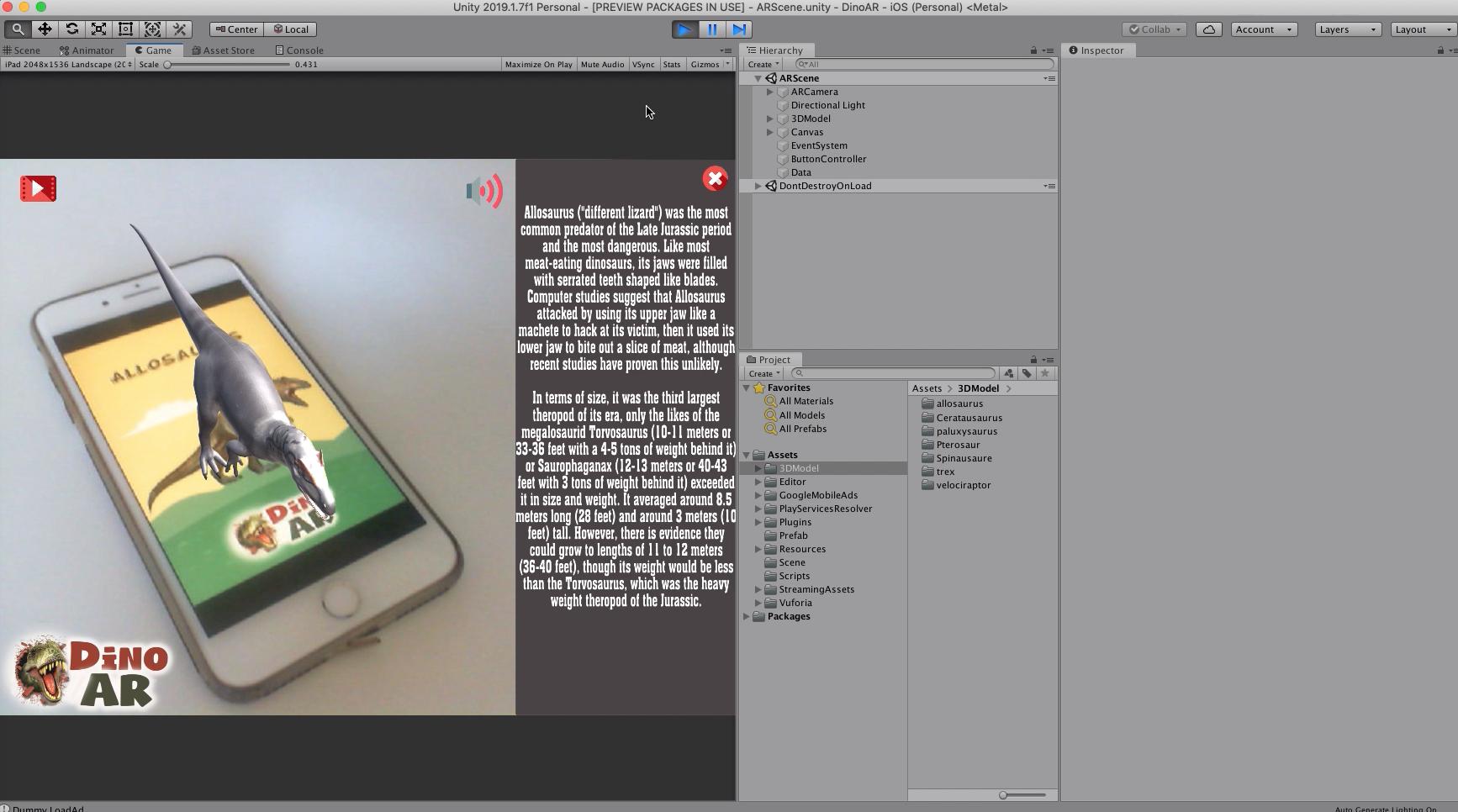 Dinoar Dinosaurs Augmented Reality App Kit Unity Augmented Reality Unity App