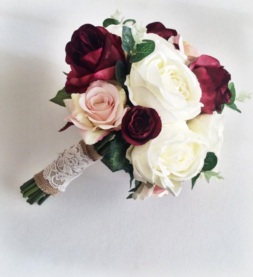 Burgundy Wedding Autumn Bridal Bouquets #rosebridalbouquet
