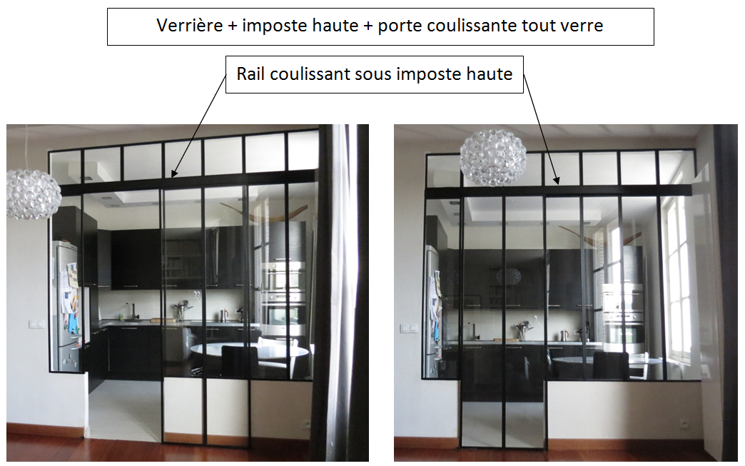 Verri re rail coulissant sous imposte haute porte for Verriere atelier coulissante