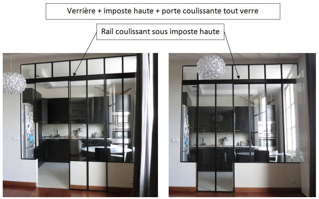 verri re rail coulissant sous imposte haute porte coulissante tout verre verrieres. Black Bedroom Furniture Sets. Home Design Ideas