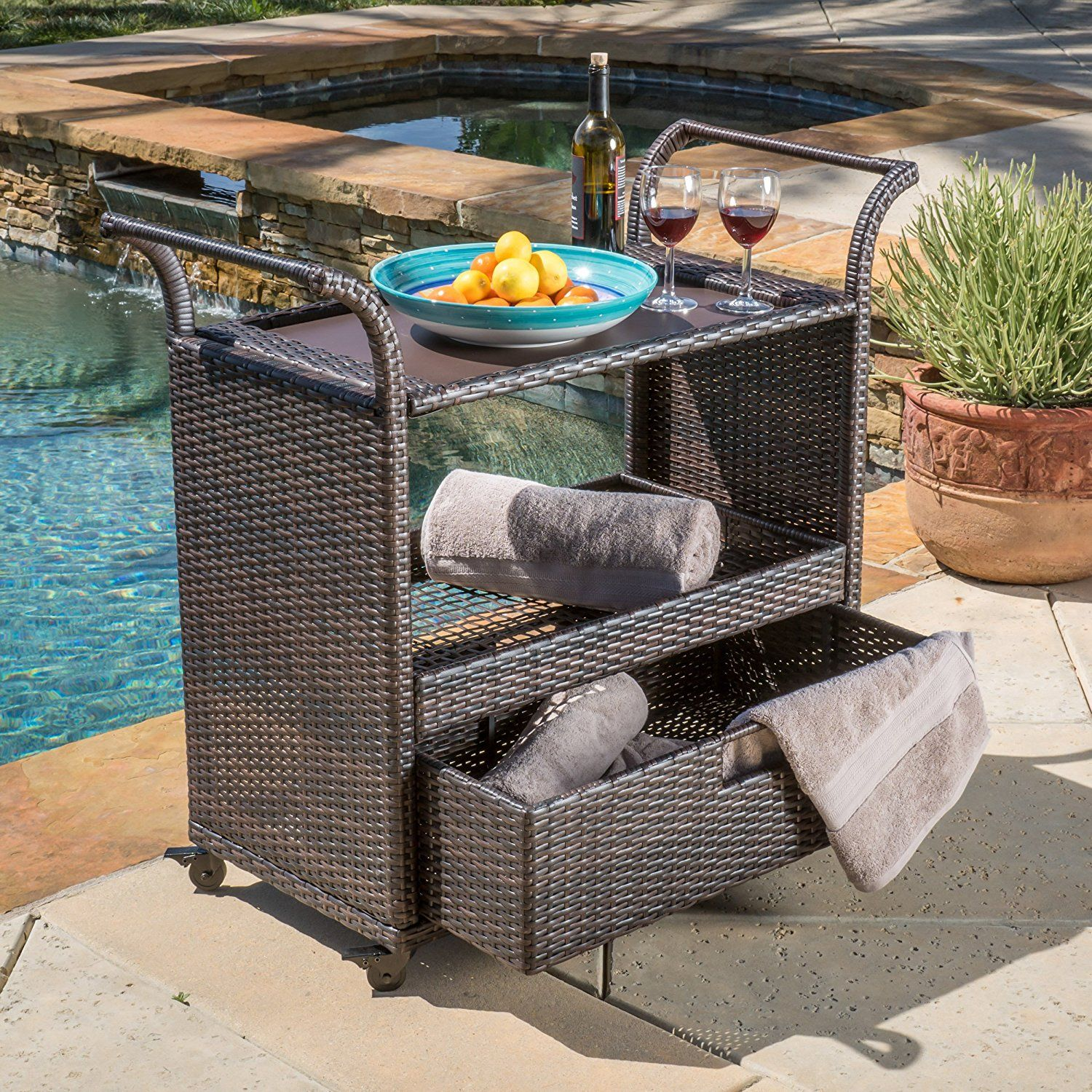 Outdoor Serving Cart On Wheels