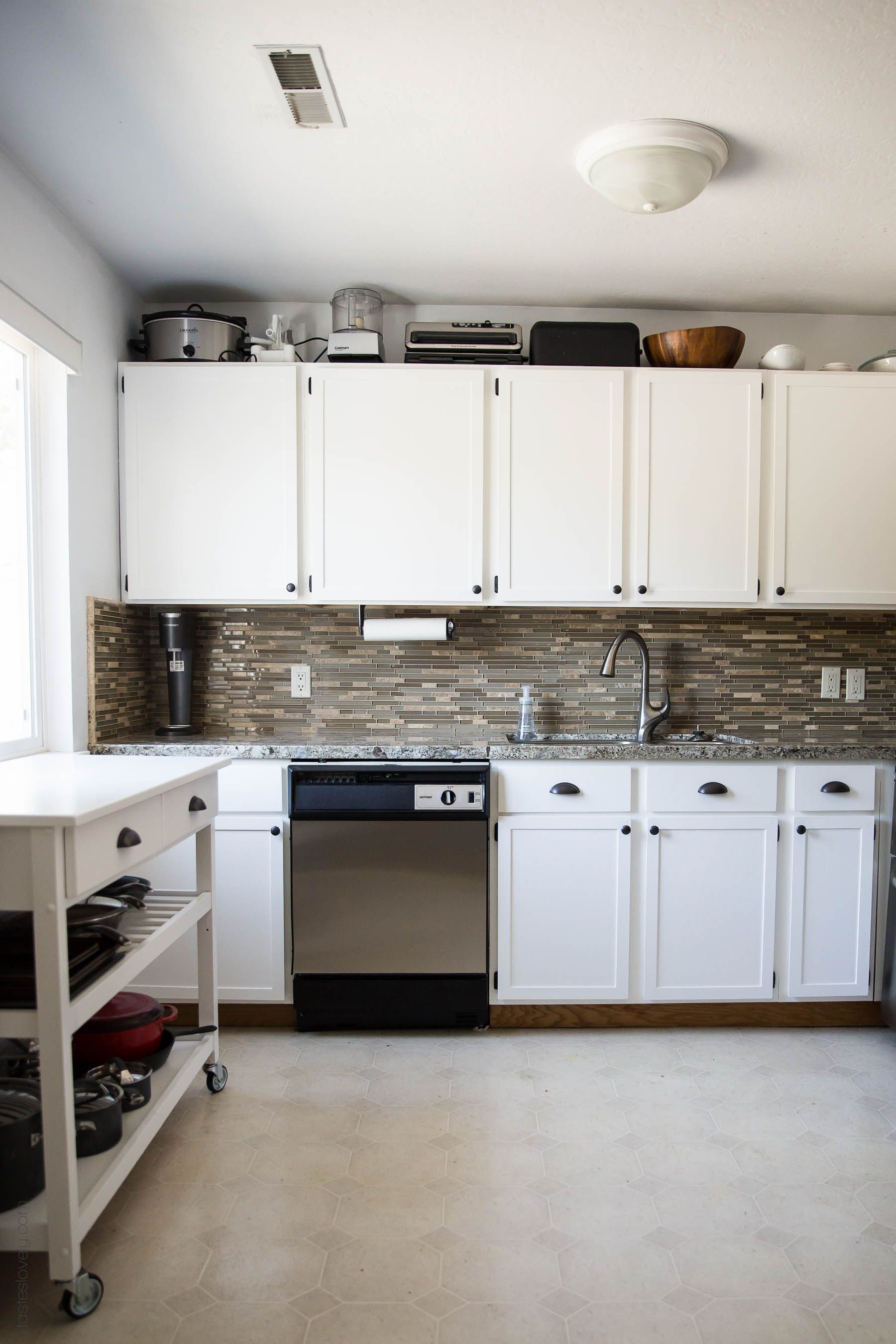 Our $281 DIY Kitchen Remodel   DIY Painting Oak Cabinets White, Adding Wood  Trim To