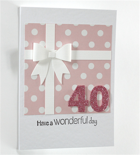 40th Birthday Card Present With Bow And Polka Dots Glitter 40 21st Birthday Cards Special Birthday Cards Birthday Cards