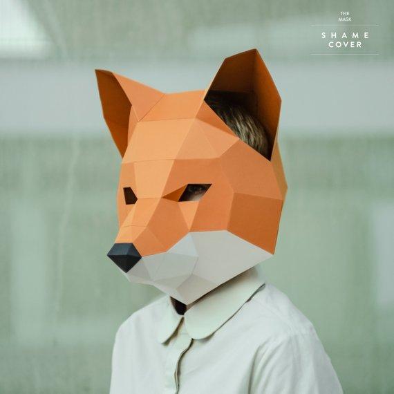 Make Fox Mask,DIY Animal Head,3D Polygon Masks,Instant Pdf download