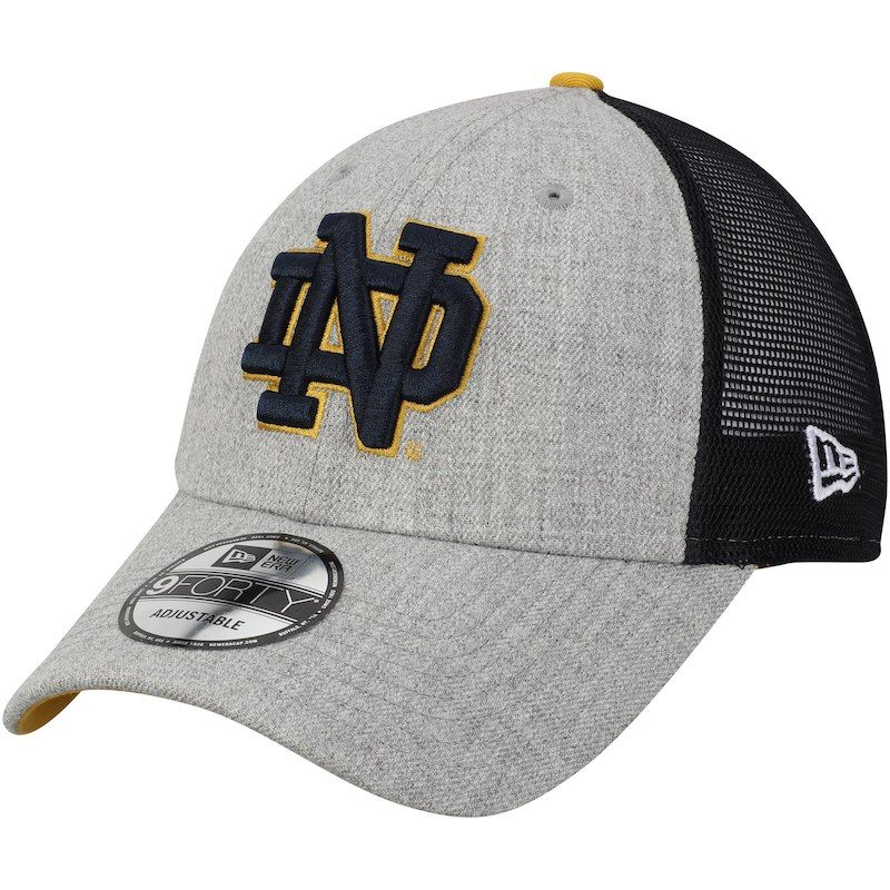 huge discount 66035 f8bcf Buy Men s New Era Heathered Gray Navy Notre Dame Fighting Irish Turn 9FORTY  Adjustable Snapback Hat from the Official Store of Notre Dame.  18