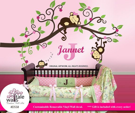 Jungle Monkey Wall Decal Sticker For Nursery Decor Monkeys With Name Initial And Owl Tree D558