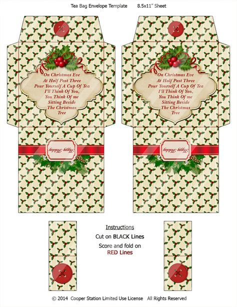 Digital bedruckbare Christmas Tea Wrapper 004 von CooperStation