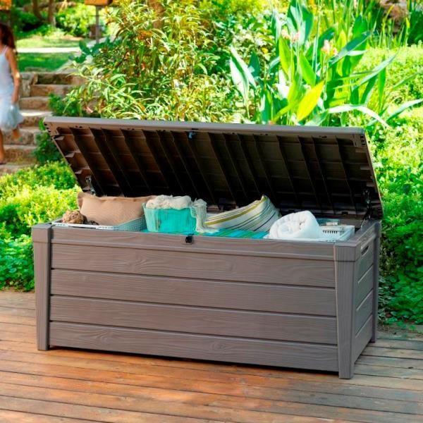 Wondrous Keter Brightwood Outdoor Garden Storage Bench Box Storage Machost Co Dining Chair Design Ideas Machostcouk