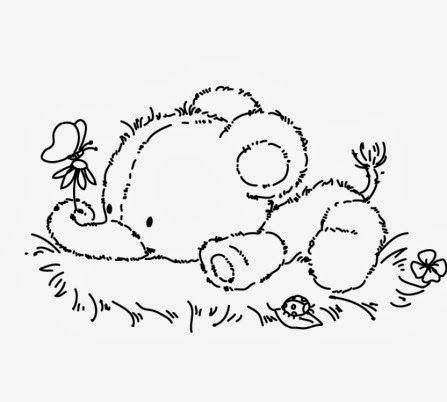 risco de elefantinho deitado na grama com flor e borboleta diy
