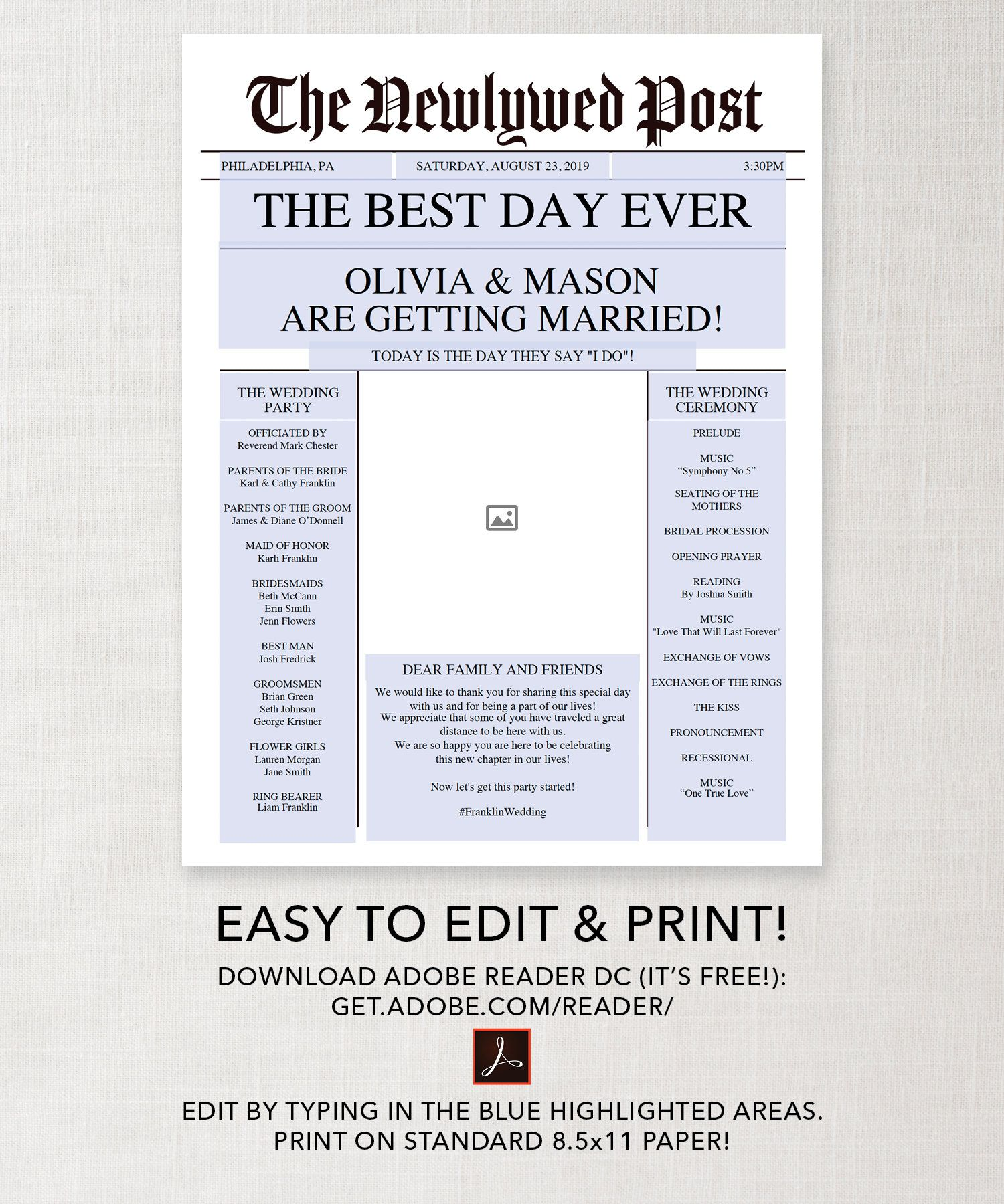 Newspaper Wedding Program Printable Wedding Programs Wedding
