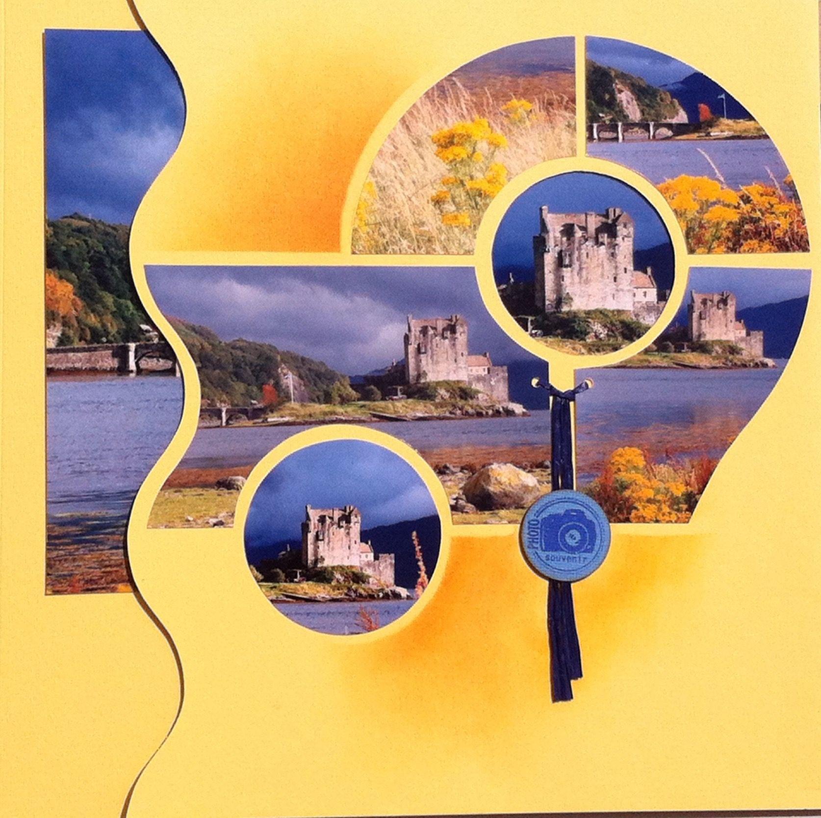 Gabarit Azza Double Page Ecosse Eilean Donan Castle Photobook Layout Photo Book Scrapbook Templates