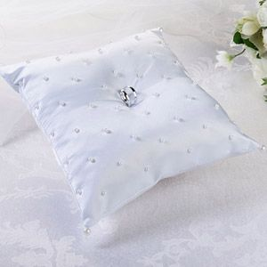 """WeddingDepot.com ~ Ring Bearer Pillow - Pearl Ring Pillow ~ This elegant white satin ring pillow is decorated with scattered pearls on the front and a pair of large and small pearls at the four corners.  Size: 8"""" x 8""""."""