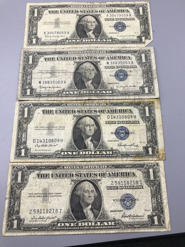 Details About Lot Of 4 Us 1 One Dollar Silver Certificates 1935