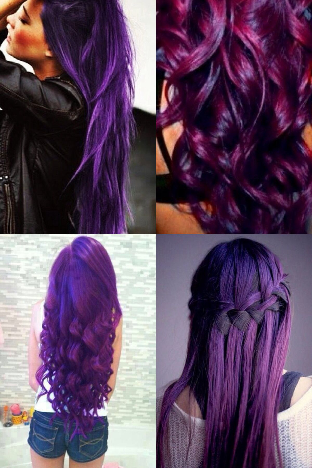 Image result for extra long curly ombre purple three tone