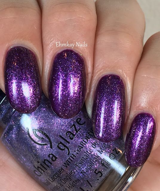ehmkay nails: China Glaze Rebel Collection for Fall 2016: Swatches and Review. China Glaze Don't Mesh with Me over Purple Fiction