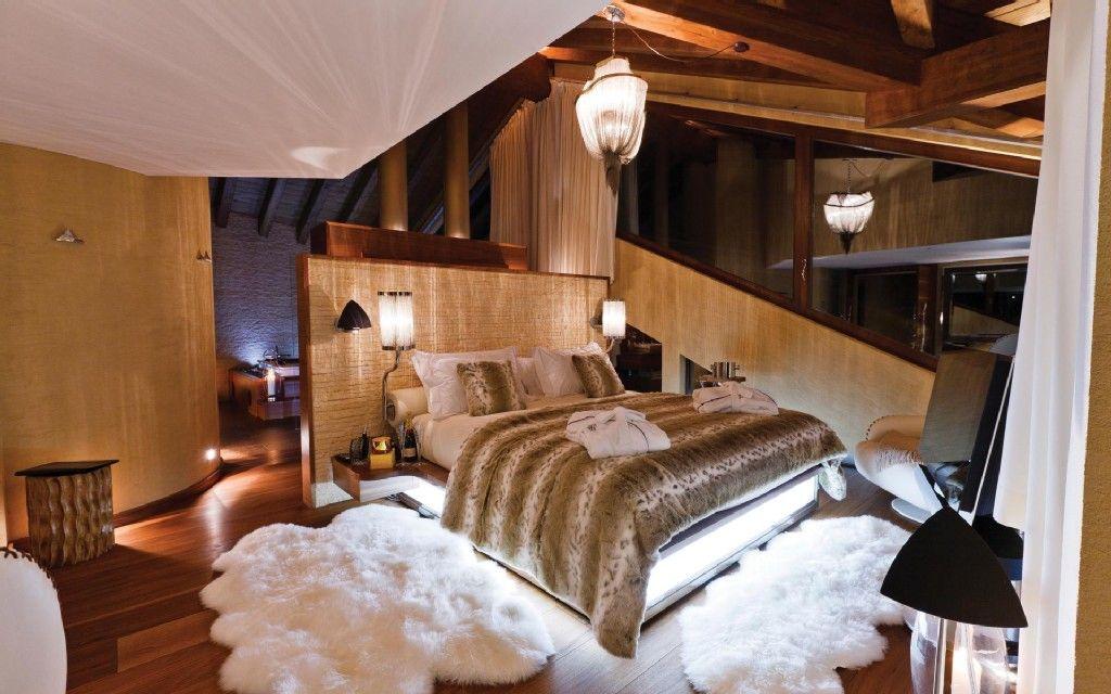 Chambre A Coucher Dans Un Chalet A Zermatt En Suisse Vacances