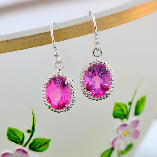 Pretty Pink Topaz Drop Earrings