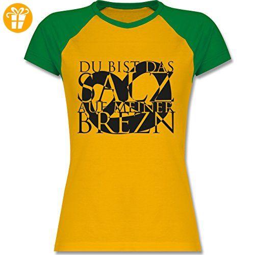 Oktoberfest Damen - Salz auf Brezn - S - Gelb/Grün - L195 - zweifarbiges Baseballshirt / Raglan T-Shirt für Damen - Shirts mit spruch (*Partner-Link)
