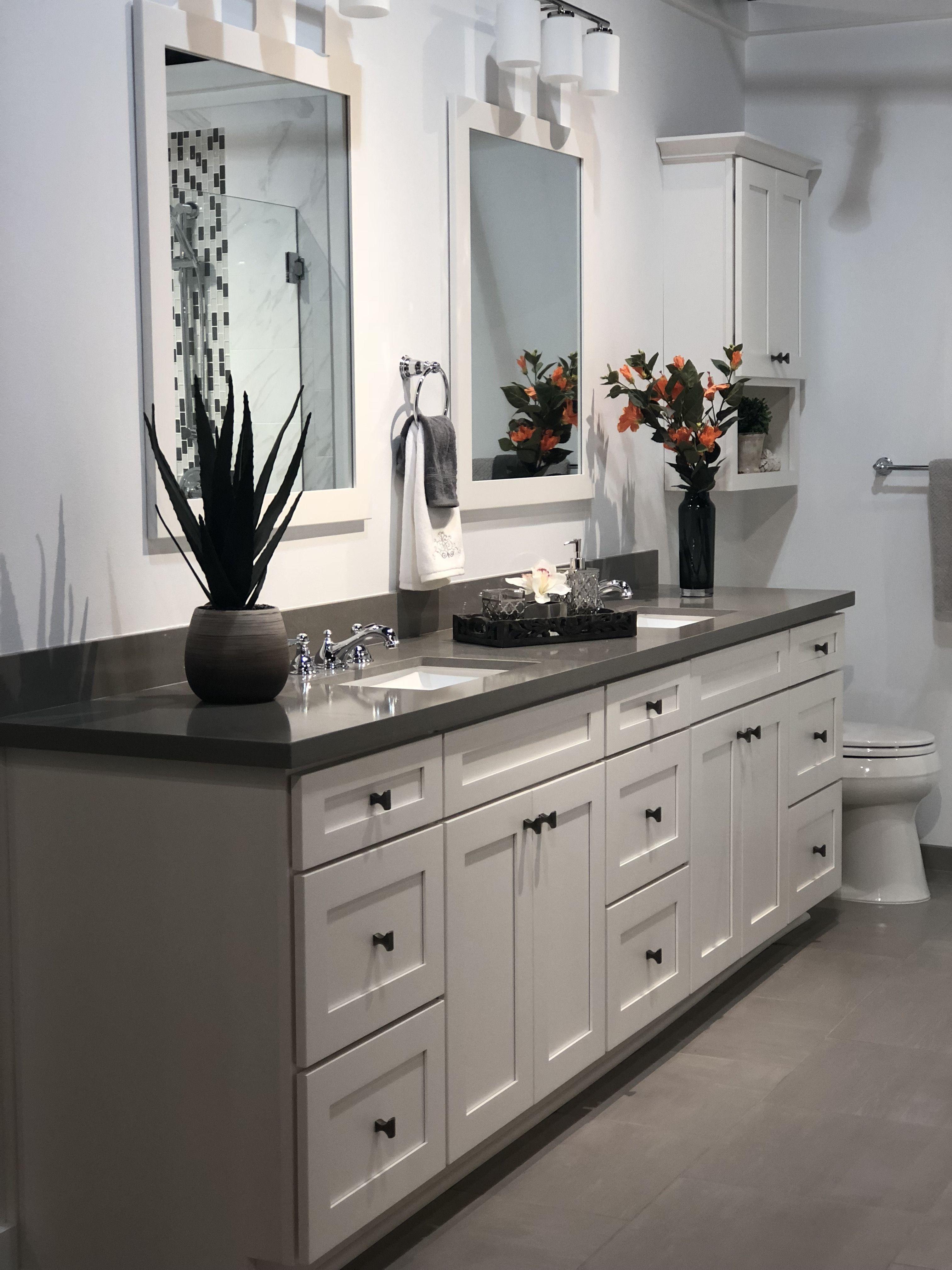 Top 10 Double Bathroom Vanity Design Ideas In 2019 Double Vanity Bathroom Grey Countertops Bathroom Vanity Designs