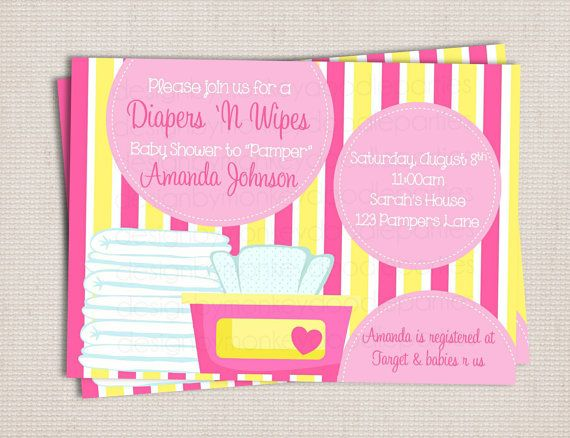 Diaper And Wipe Custom Printable Baby Shower Invitation Pink U0026 Yellow Baby  Girl.   Etsy